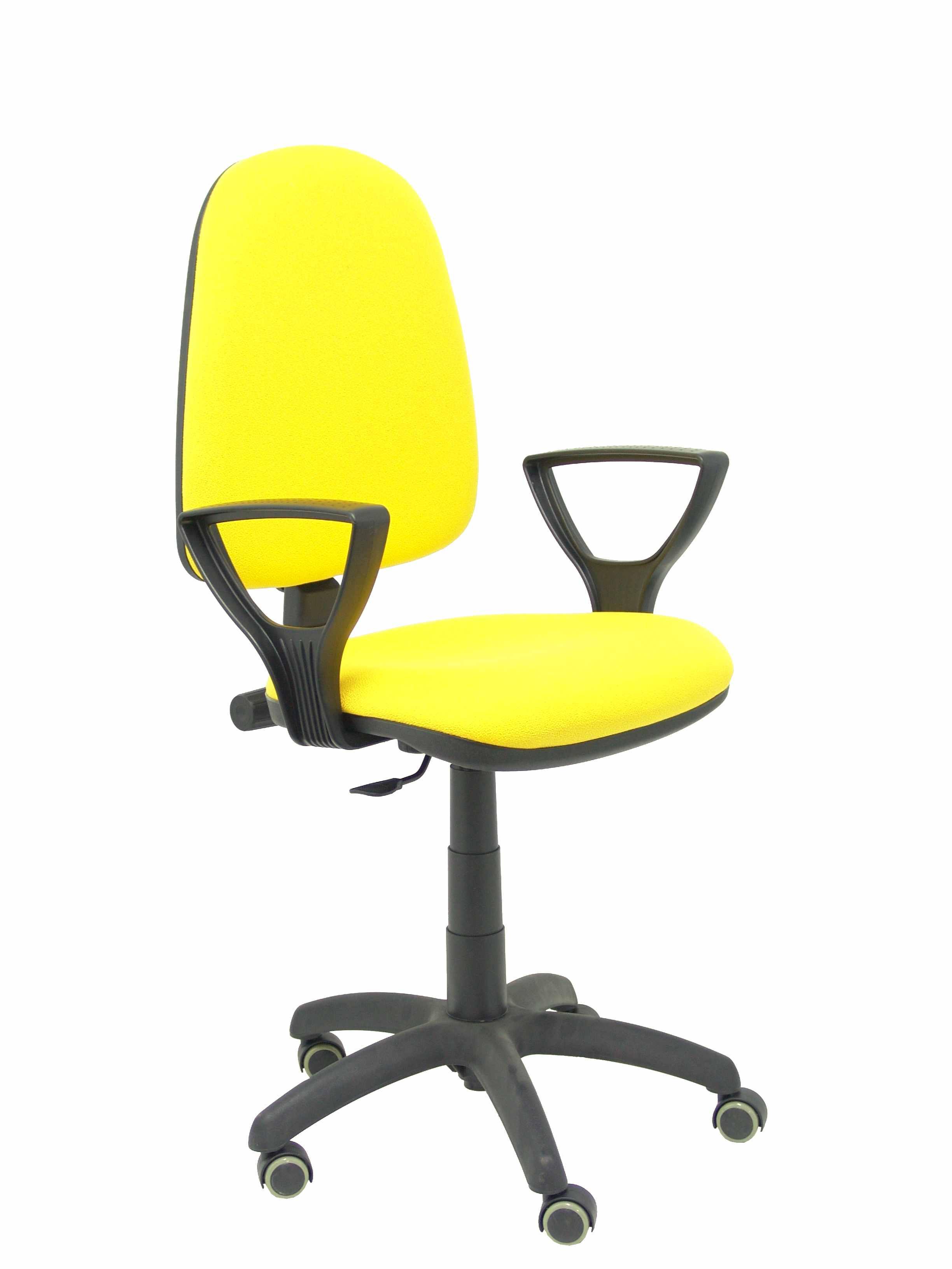 Silla Ayna bali amarillo brazos fijos ruedas de parquet