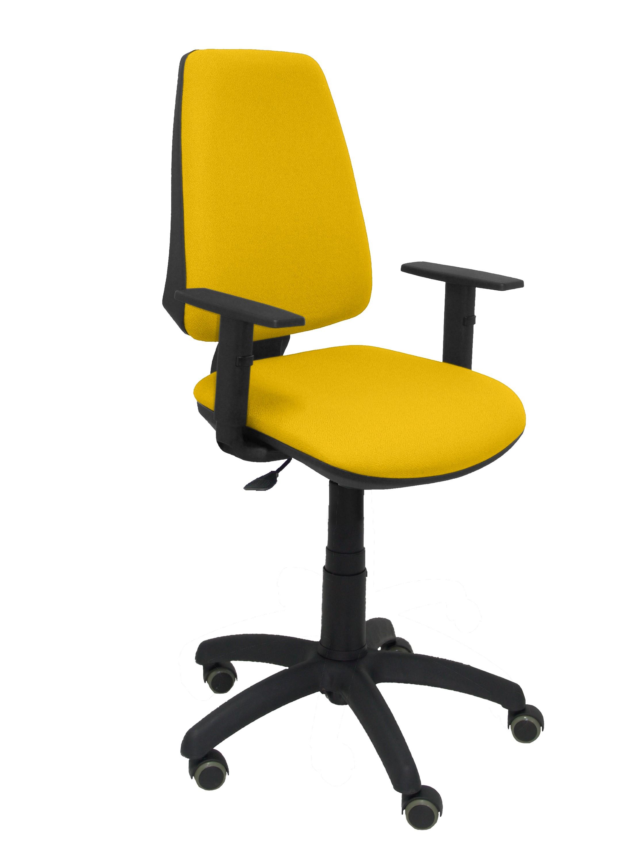 Silla Elche CP bali amarillo brazos regulables ruedas de parquet