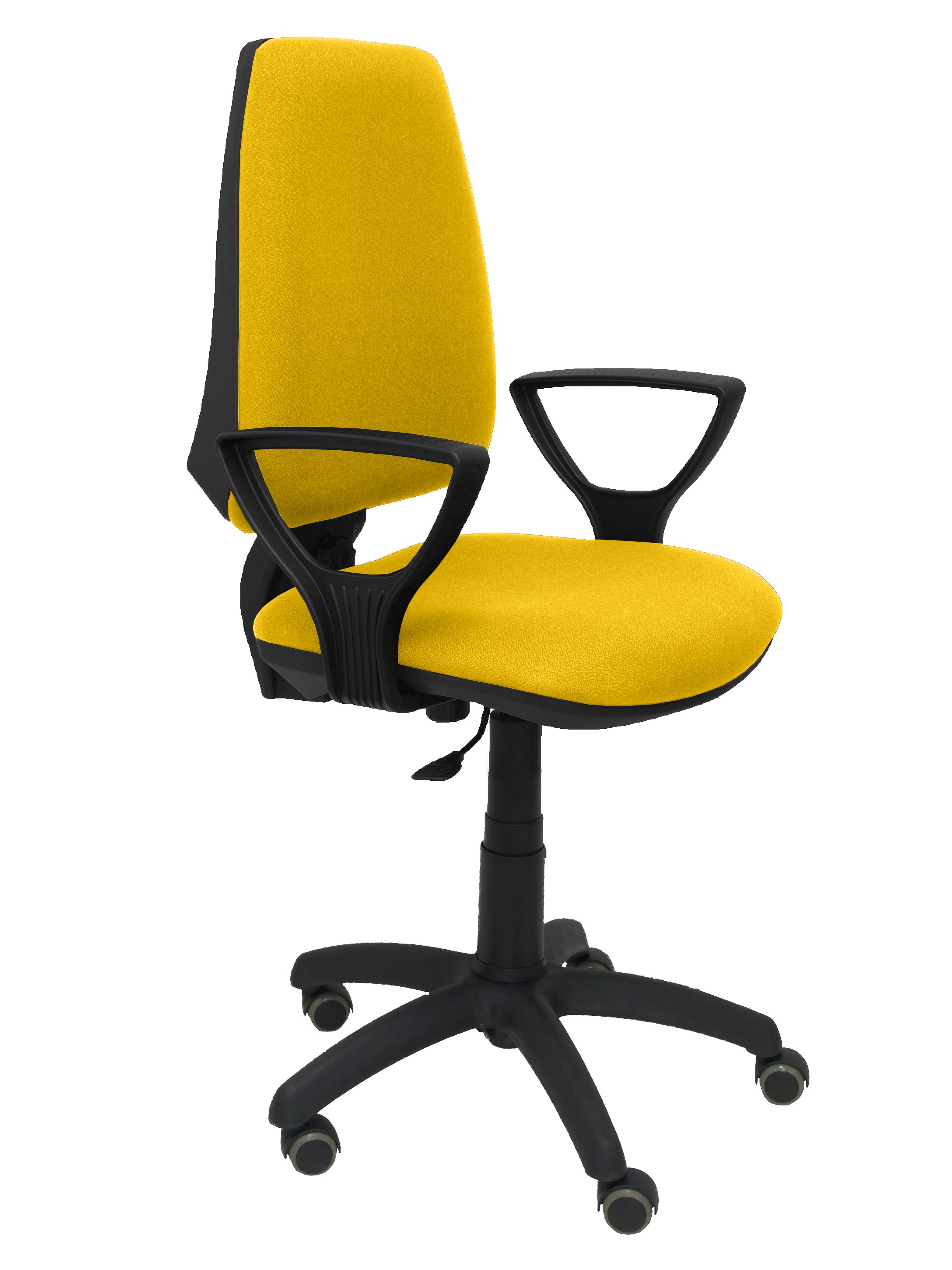 Silla Elche CP bali amarillo brazos fijos ruedas de parquet
