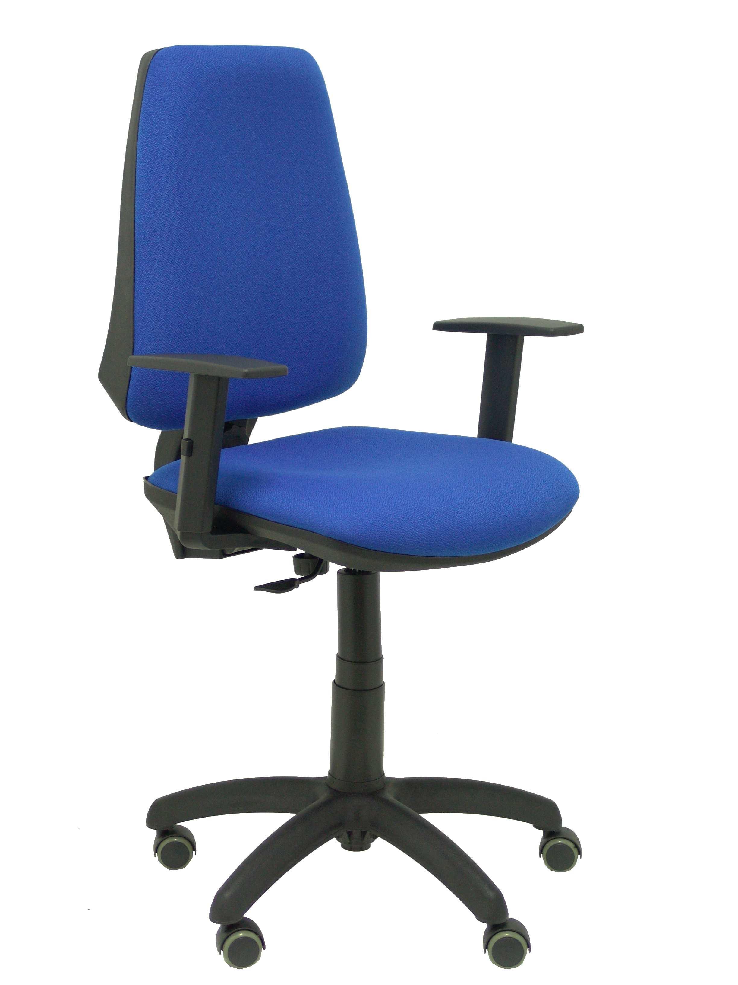 Silla Elche CP bali azul brazos regulables ruedas de parquet