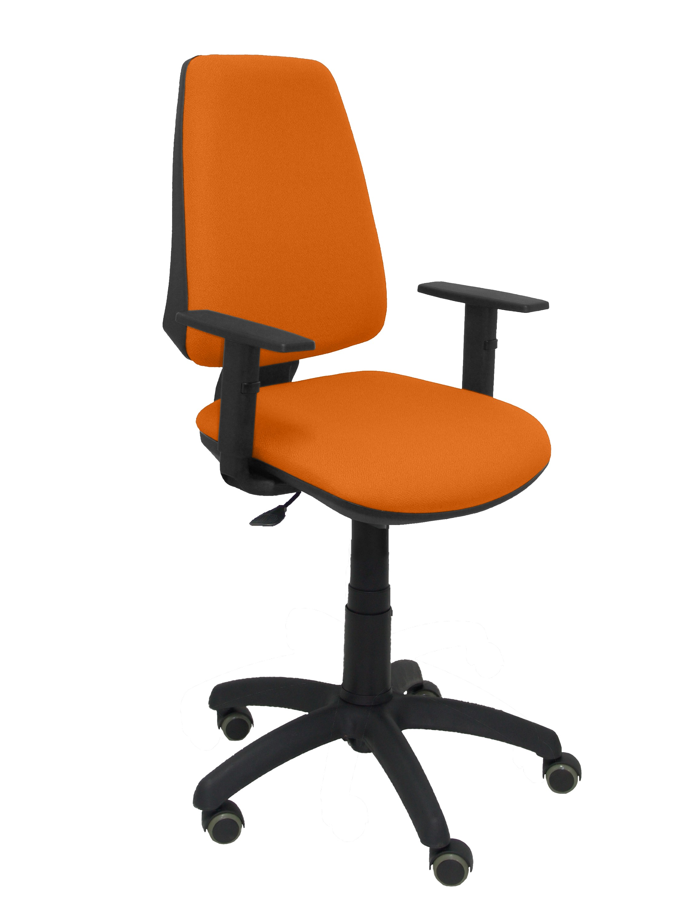 Silla Elche CP bali naranja brazos regulables ruedas de parquet