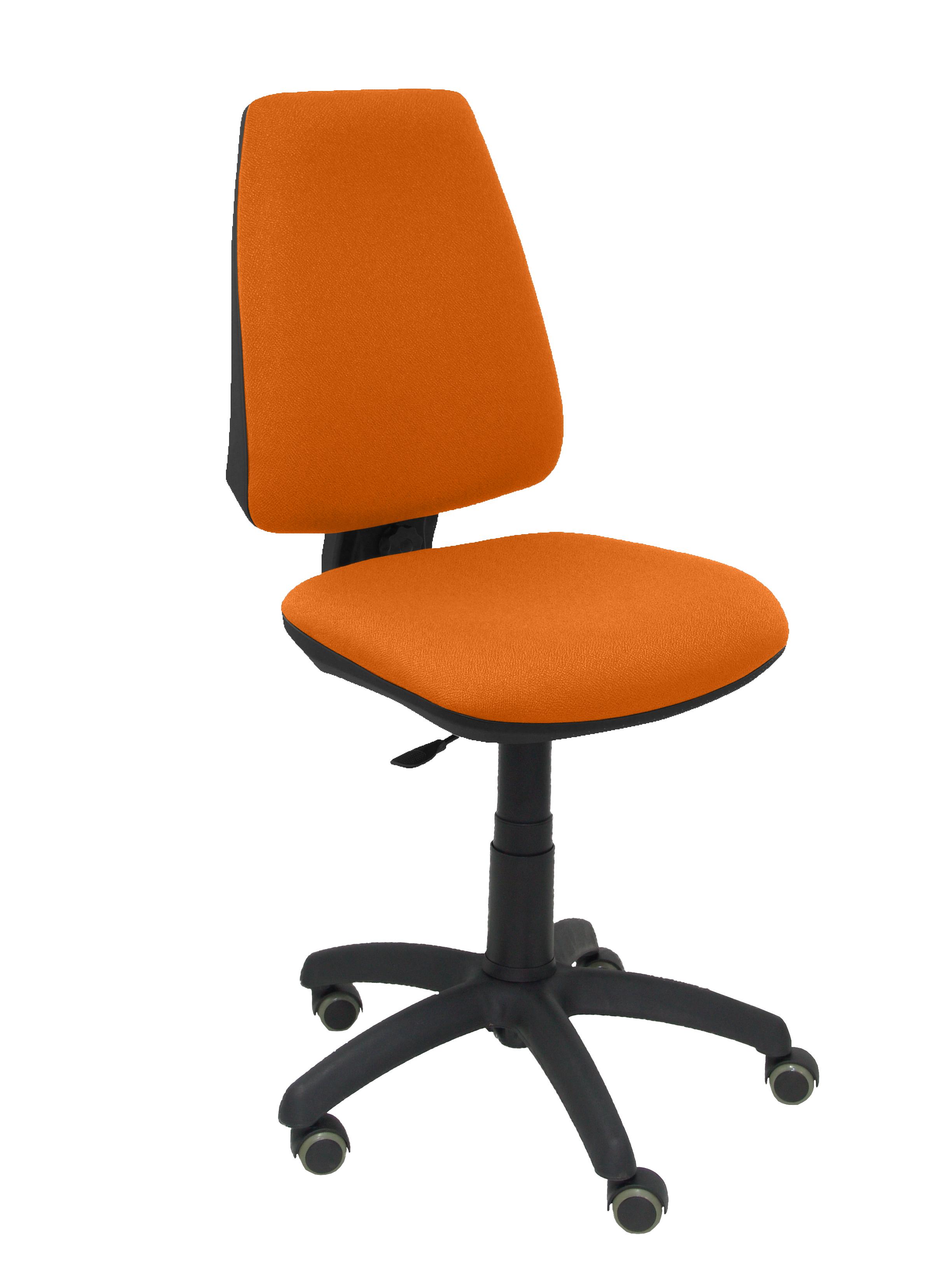 Silla Elche CP bali naranja ruedas de parquet