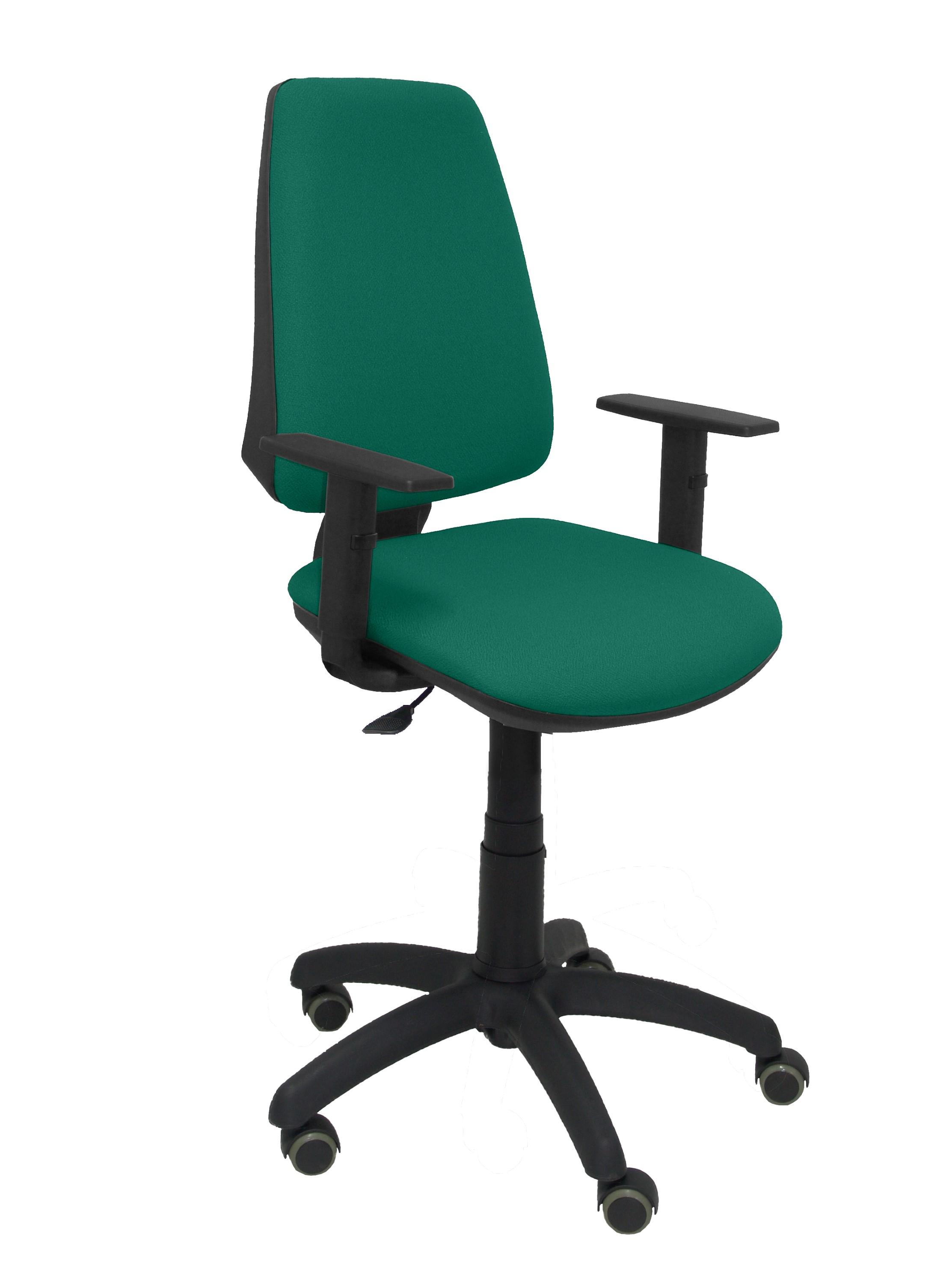 Silla Elche CP bali verde brazos regulables ruedas de parquet
