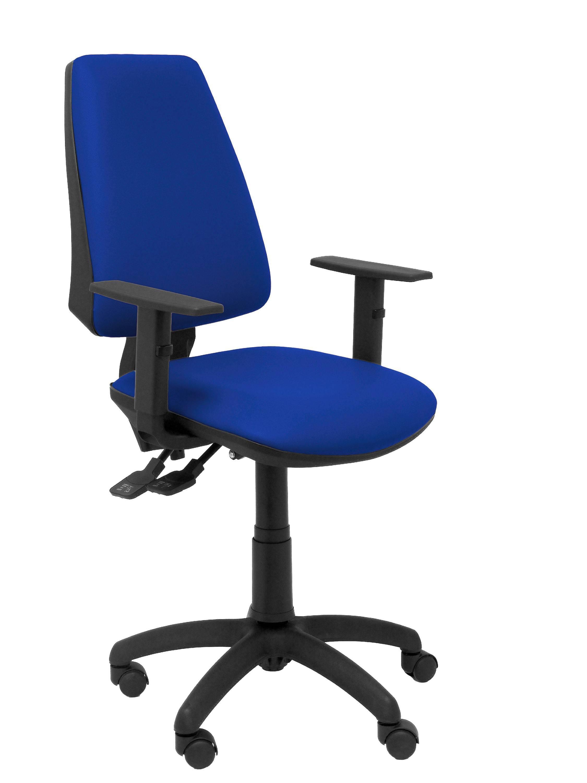 Silla Elche sincro similpiel azul con brazo regulable