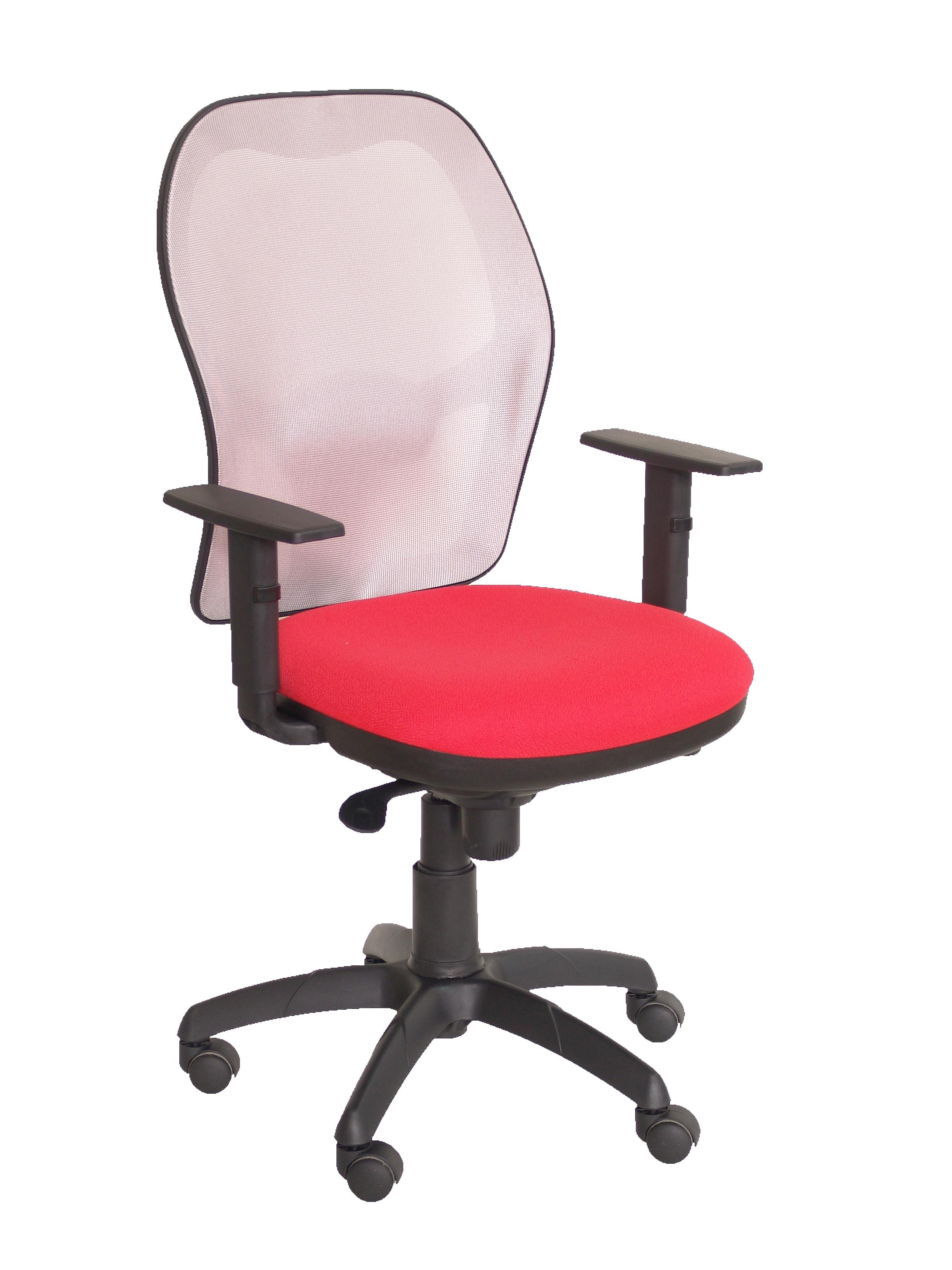 Silla Jorquera malla gris asiento bali rojo