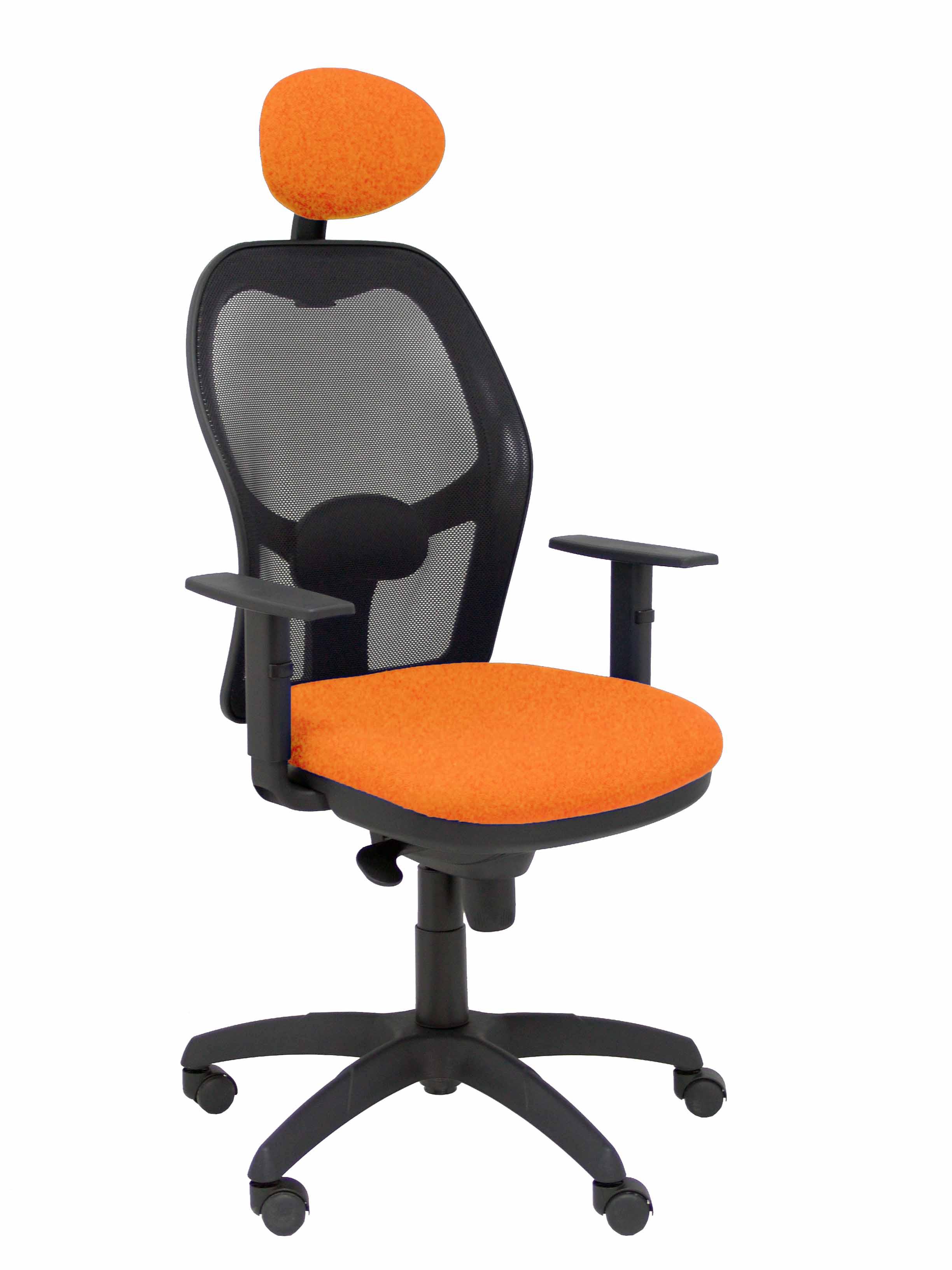 Silla Jorquera malla negra asiento bali naranja con cabecero fijo