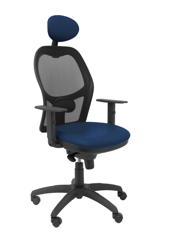 Silla Jorquera malla negra asiento similpiel azul marino con cabecero fijo