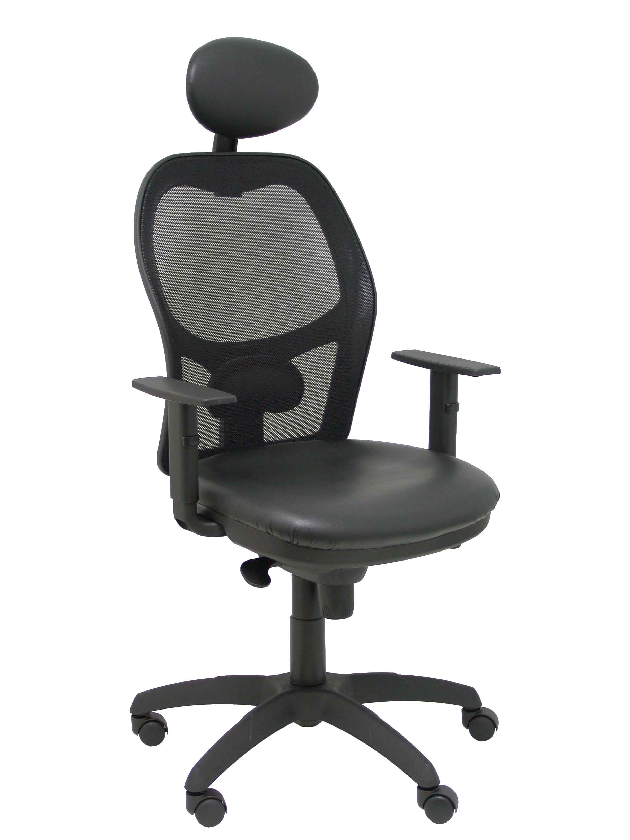 Silla Jorquera malla negra asiento similpiel negro con cabecero fijo