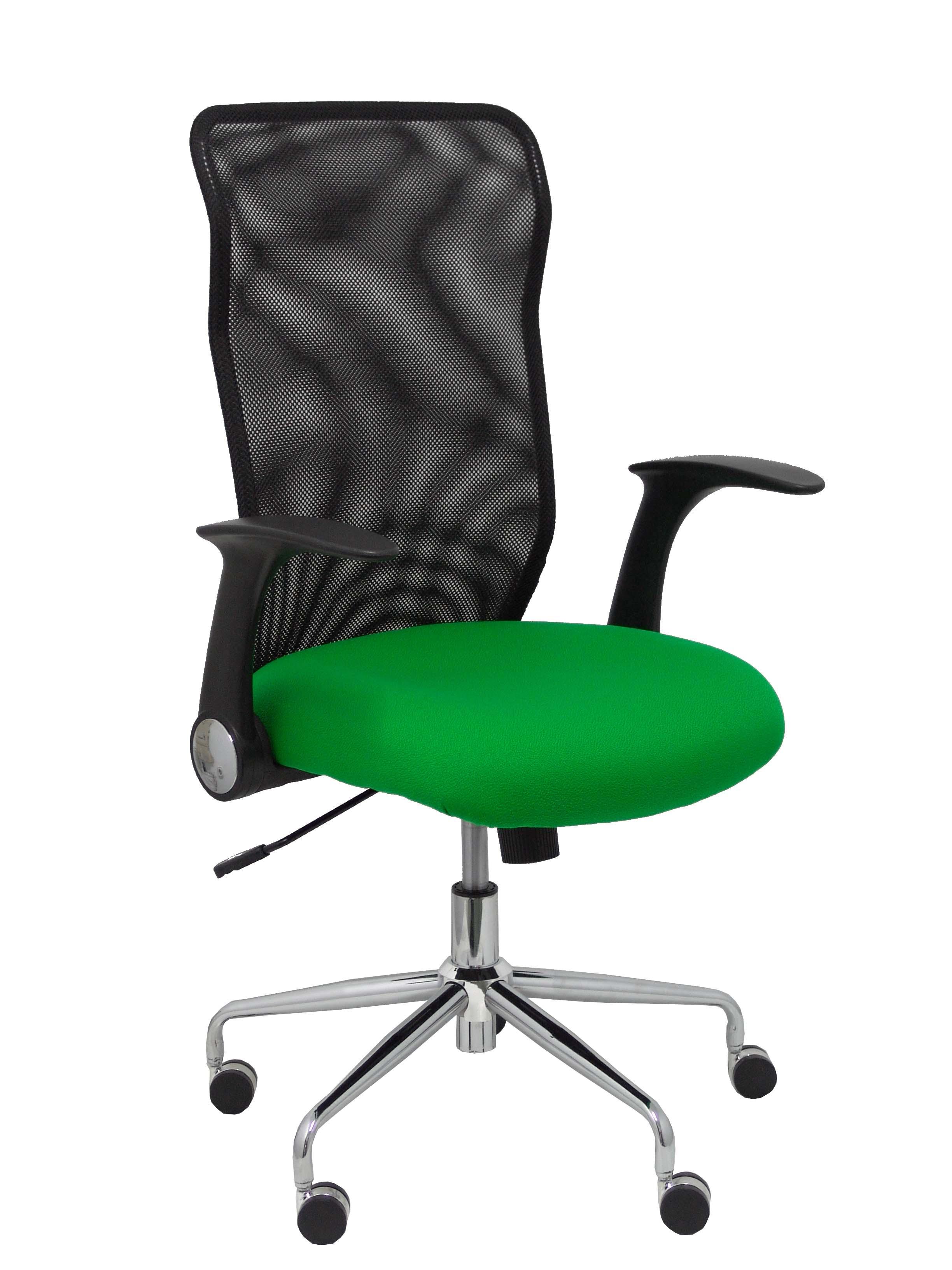Silla Minaya respaldo malla negro asiento bali verde