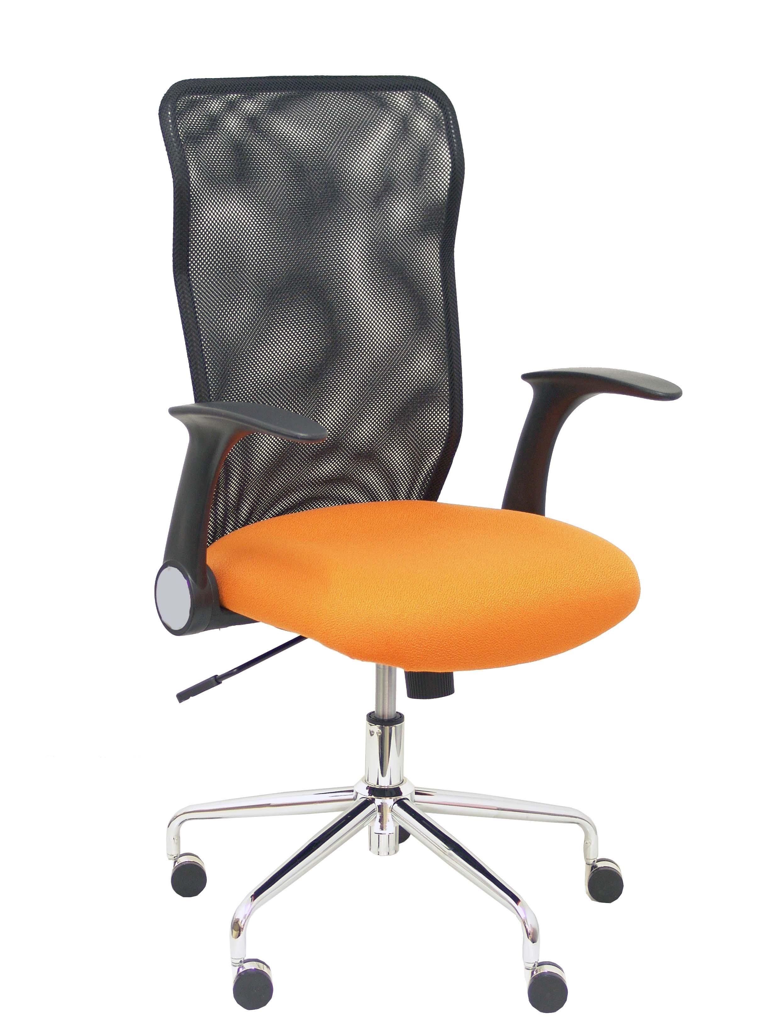 Silla Minaya respaldo malla negro asiento bali naranja