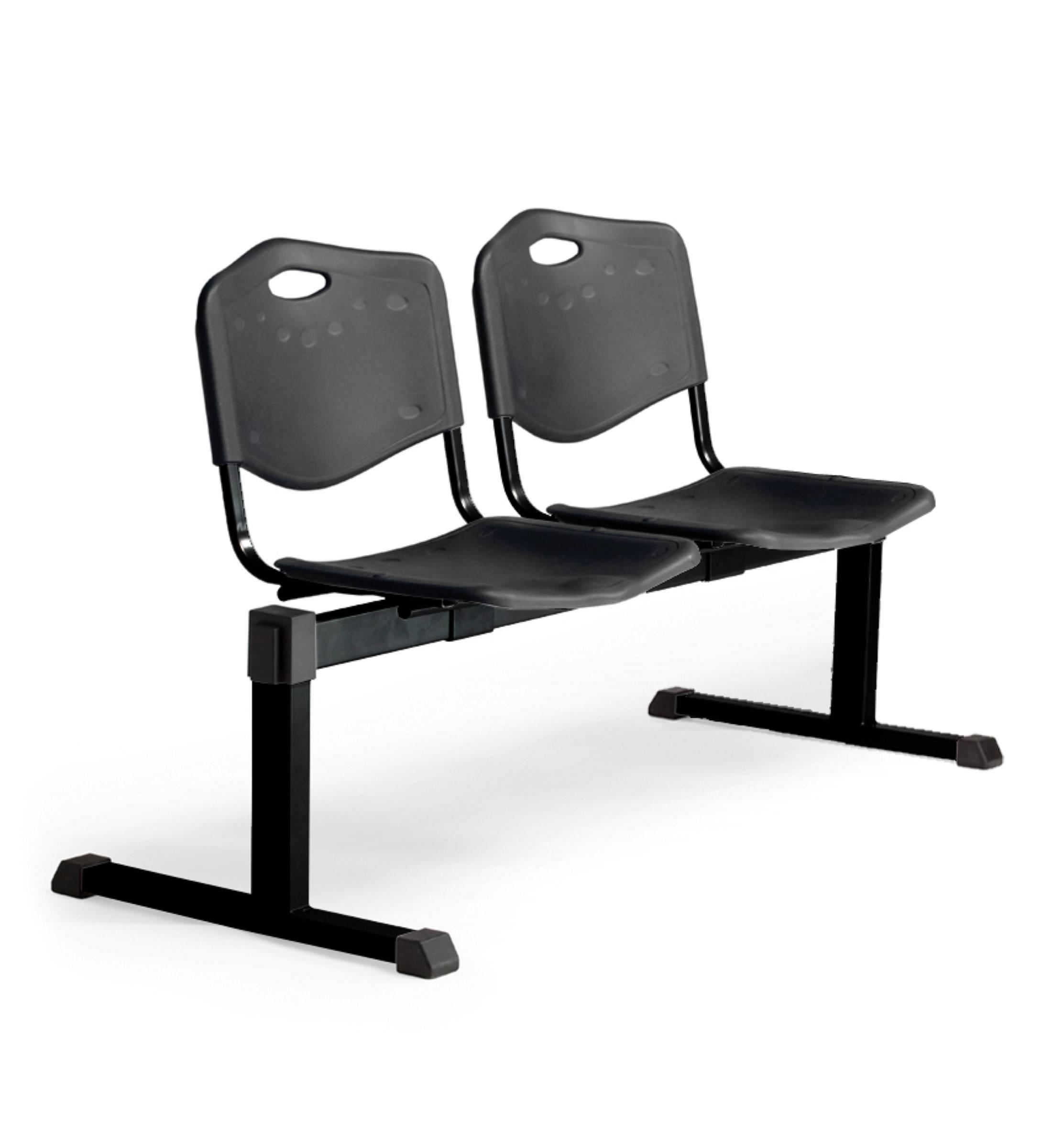 Bancada Cenizate 2 plazas con asiento en plástico inyectado negro