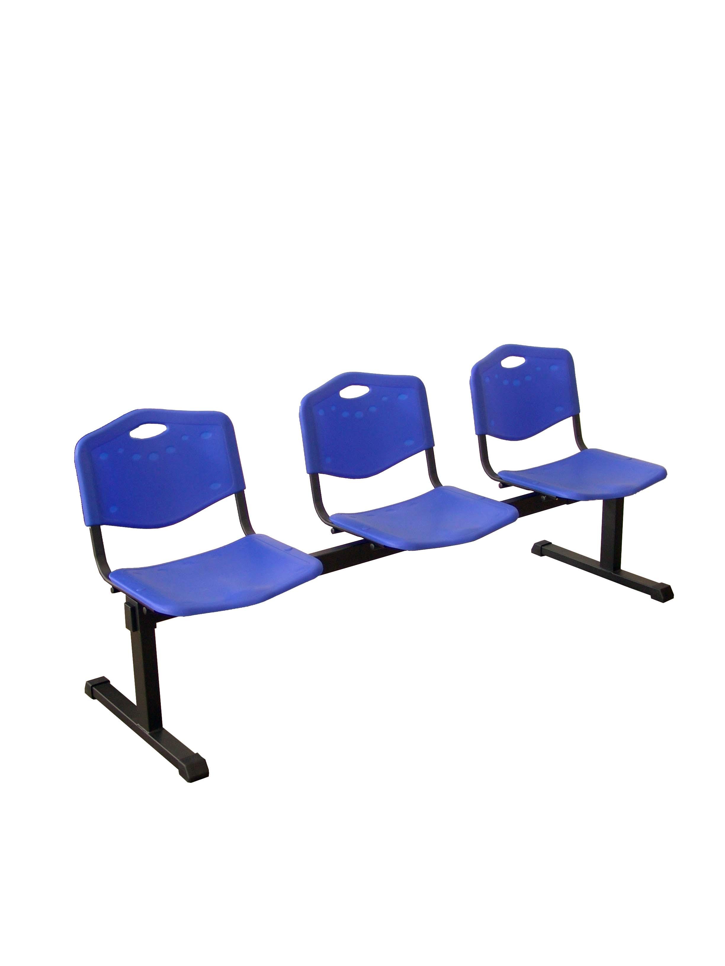 Bancada Pozohondo 3 plazas con asiento en plástico inyectado azul