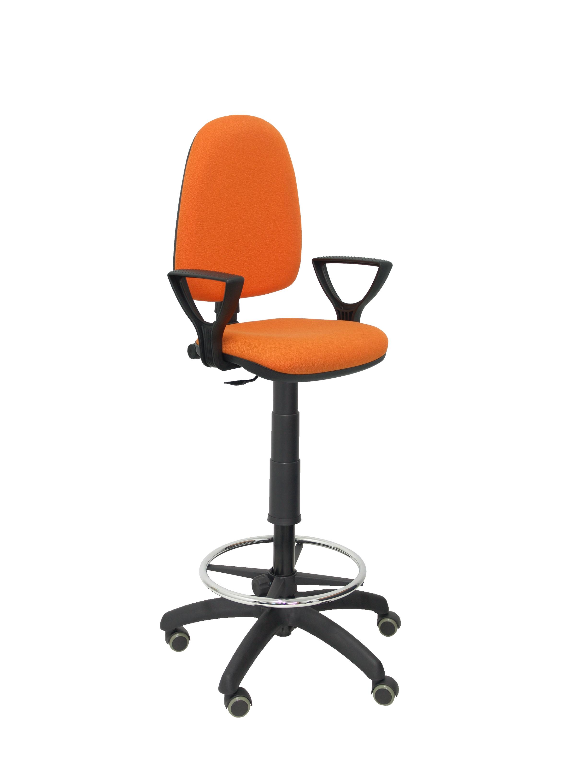Taburete Ayna bali naranja brazos fijos ruedas de parquet