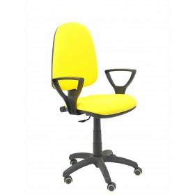 Silla Ayna bali amarillo brazos fijos ruedas de parqué