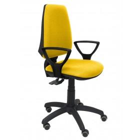 Silla Elche S bali amarillo brazos fijos ruedas de parquet