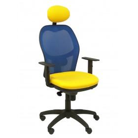 Silla Jorquera malla azul asiento bali amarillo con cabecero fijo