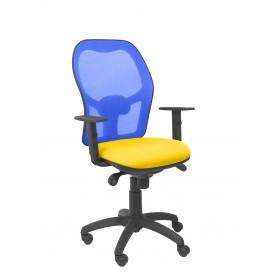 Silla Jorquera malla azul asiento bali amarilla