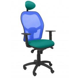 Silla Jorquera malla azul asiento bali verde claro con cabecero fijo
