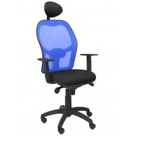 Silla Jorquera malla azul asiento bali negro con cabecero fijo