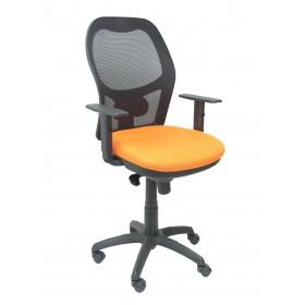 Silla  Jorquera malla negro asiento naranja