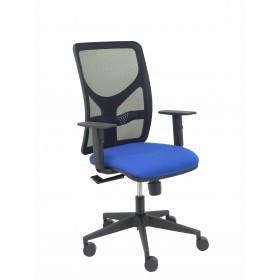 Silla Motilla malla negra asiento bali azul brazo regulable