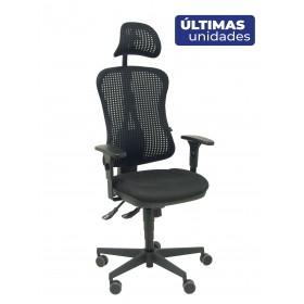 Silla Agudo sincro malla negra asiento tela negro brazos regulables con cabecero