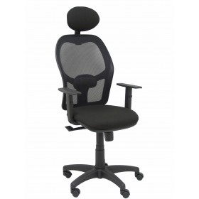 Silla Alocén malla negra asiento bali negro brazos regulables cabecero fijo