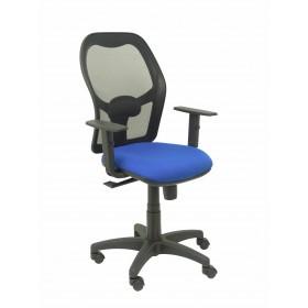 Silla Alocén malla negra asiento bali azul brazos regulables