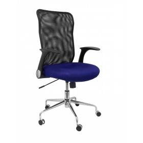 Silla Minaya respaldo malla negro asiento 3D azul