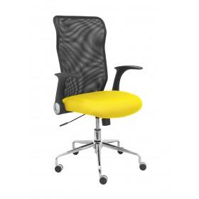 Silla Minaya respaldo malla negro asiento bali amarillo