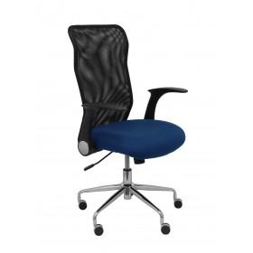 Silla Minaya respaldo malla negro asiento bali azul