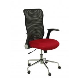 Silla Minaya respaldo malla negro asiento 3D rojo