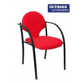 Pack 2 sillas Hellin chasis negro aran rojo