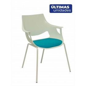 Pack 3 sillas Saceruela carcasa blanca asiento azul