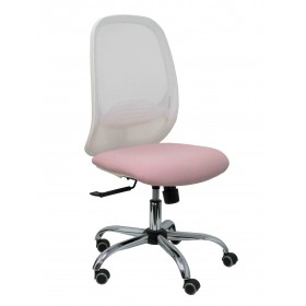 Silla Cilanco blanca malla blanca asiento bali rosa base cromada ruedas de parqué