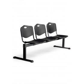 Bancada Pozohondo 3 plazas con asiento en plástico inyectado negro