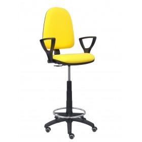 Taburete Ayna bali amarillo brazos fijos ruedas de parqué